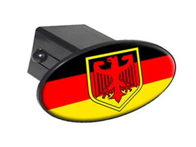 "German Flag And Crest - 2"" Tow Trailer Hitch Cover Plug Insert"