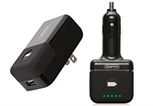 Griffin PowerDuo (PowerJolt + PowerBlock) Reserve AC and Car Chargers with Rechargeable Backup Battery for iPhone & iPod, Black