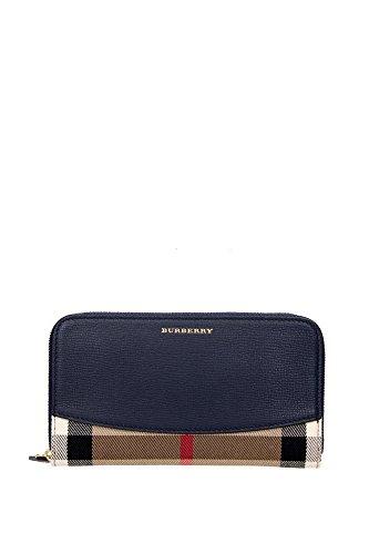 Portafogli Burberry Donna Tessuto Check Classico Burberry e Blu 3992895 Beige 10.5x18.5 cm
