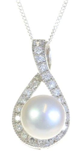 Classical 925 Sterling Silver 9.0mm White Pearl Women Pendant + Chain with Cubic Zirconia/CZ