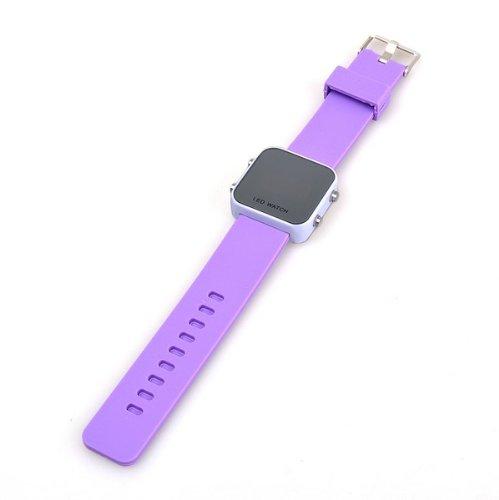 Bestdealusa Purple Jelly Silicone Luxury Sport Style Led Digital Date Watch Wristwatch