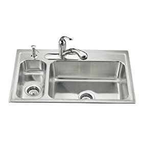 KOHLER K-3347L-3-NA Toccata High/Low Self-Rimming Kitchen Sink