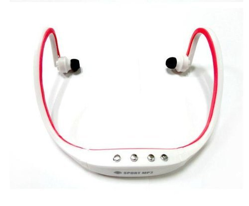 Sunnice® New Wireless Sport Head Loop Stereo Water Resistant Earphone Headphones Handsfree Music Earbud Headset Neckband Headphone Music Mp3 Player Tf Card Sd Card Slot Fm Radio Headset (White And Red)