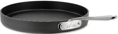 All-Clad 3012 Hard Anodized Aluminum Scratch Resistant Nonstick Anti-Warp Base Round Grille Pan Specialty Cookware, 12-Inch, Black (Caphalon Ceramic Griddle compare prices)