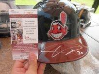 Ubaldo Jimenez signed Cleveland Indians authentic full size helmet JSA COA
