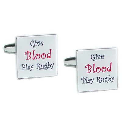 Mens Funky Stylish Fashion Novelty Sports Theme Give Blood Play Rugby Cufflinks With Gift Box - A Great Christmas, Birthday, Valentine, Anniversary, Wedding Gift For Husbands, Fathers, Boyfriends, Friends And Work Colleagues