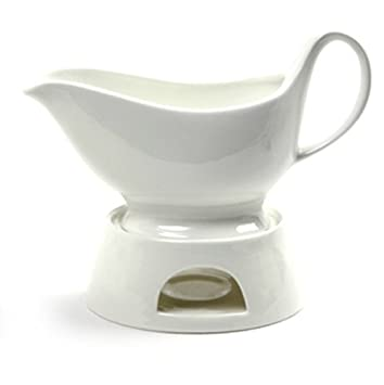 Porcelain Gravy Sauce Boat Candle Stand Warmer