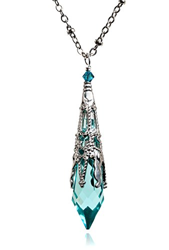 Swarovski-Antique-Green-Icicle-Silver-Filigree-Pendant-Spike-Necklace-8611