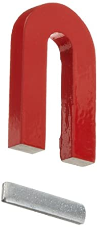"Red Cast Alnico 5 U-Shaped Magnet With Keeper, 1-3/16"" Wide, 2"" Tall, 1/4"" Thick (Pack of 1)"