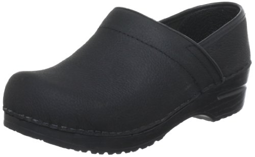 Sanita Women'S Professional Lisbeth Closed Oil Leather Clog,Black,38 Eu/7.5-8 M Us