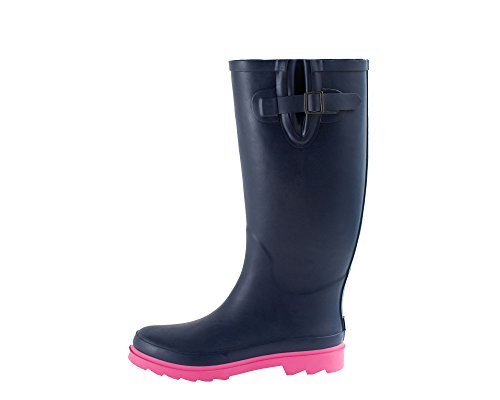 Women's Rubber Rain Boots, Oxbow Navy/Pink 7 (Women Rain Boots Pink compare prices)