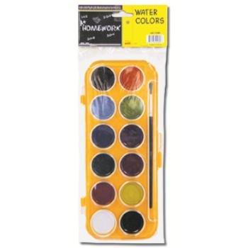 Bulk Buys Water Color Paint Set - 12 Colors plus Brush - Case of 48