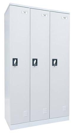 """Sandusky Lee KDCL7236/3-05 Dove Gray Powder Coat Paint Steel SnapIt Full Length Locker, 72"""" Height x 36"""" Width x 18"""" Depth, 3 Lockers Wide"""