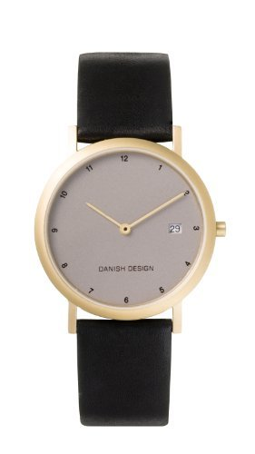 Danish Design Men'S Quartz Watch With Grey Dial Analogue Display And Black Leather Strap Dz120009