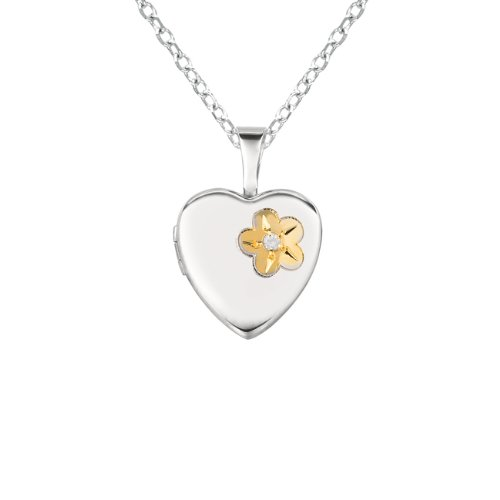 Sterling silver 0.01ct White Diamonds Heart Shaped Locket w/ Dia & Flower Necklace (G-H, SI1-SI2)