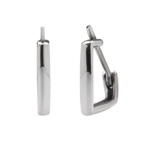 Sterling Silver Flawlessly Finished Huggie Earrings for Men and Women, Diamond-shape, 0.5