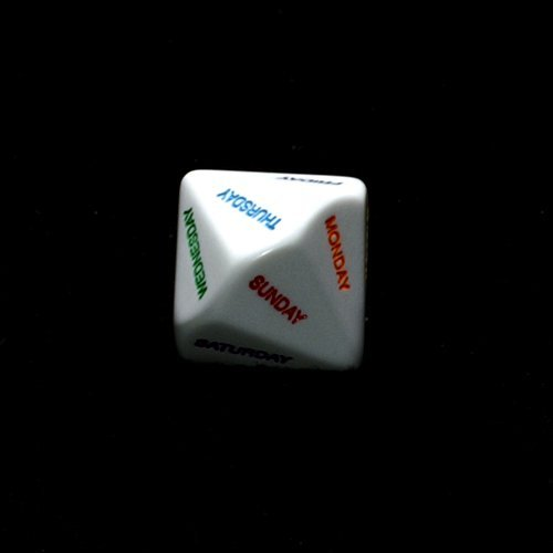 28mm Opaque White D14 Days of the Week Dice w/ Colors