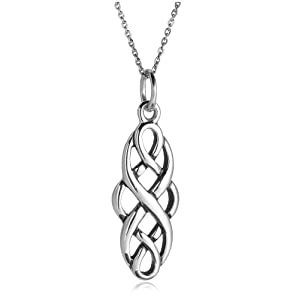 Sterling Silver Celtic Design Oval Pendant, 18