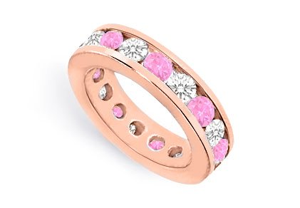 Eternity Rings Ten Carat Cz And Pink Sapphire Created In Channelset 14K Rose Gold Vermeil