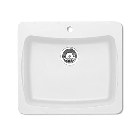 Pegasus AL10WH 25-Inch by 22-Inch Granite Single Bowl Kitchen Sink, Opal White