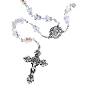 Swarovski Crystal Rosary Beads with Sterling Silver Center Medal, Crucifix and Links (Single Caps)