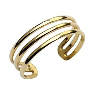 10kt gold three line toering toe rings jewelry