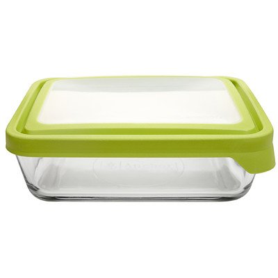 Anchor Hocking TrueSeal Rectangle Food Storage Container 6-Cup, Green Lid