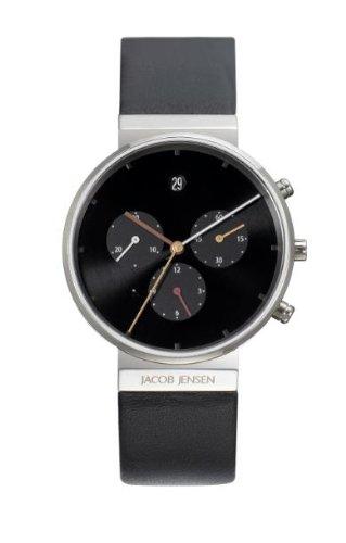Jacob Jensen 603 - Reloj cronógrafo de cuarzo unisex con correa de piel, color negro