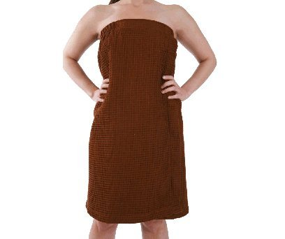 Monogrammed Cotton Waffle Spa Wrap Coco Brown Bridesmaids Gifts front-640791