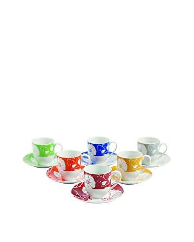 Villa d'Este Home Tivoli Set de Tazas Espresso con Platos Tahiti Multicolor