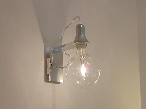 LAMPADA PARETE APPLIQUE DESIGN MODERNO CROMO ILLUMINAZIONE INTERNI SALONE CAMERA