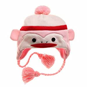 Bear Hands Hat Sock Monkey Character Kids Pink
