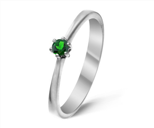Modern 9 ct White Gold Ladies Solitaire Engagement Ring with Chrome Diopside 0.20 Carat