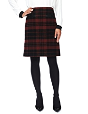 M&S Collection Checked A-Line Mini Skirt with Wool