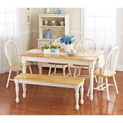Better Homes and Gardens Autumn Lane 6-Piece Dining Set, White and Natural (Better Homes And Gardens Table compare prices)