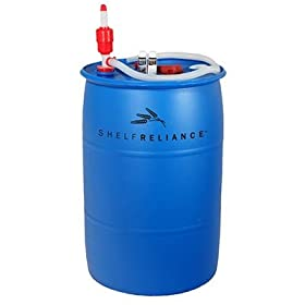 Shelf Reliance 55-gallon Barrel Water Storage System Food Grade Water Barrel, Siphon Pump, Bung Wrench & Water Treatment Solution