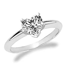 buy 1.0Cct Heart Shaped Natural Diamond Rings Solitaire Gold 14K Cd-14-9550