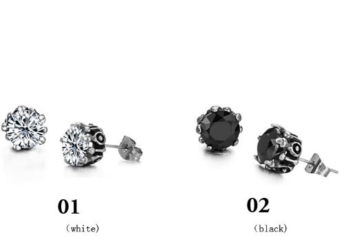 OPK CZ Stone Unisex Hypoallergenic Titanium Stainless Steel Earrings Best Gift!