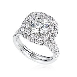 1.70 Ct Round Genuine Diamond Double Halo Engagement Ring Set in 18k White Gold