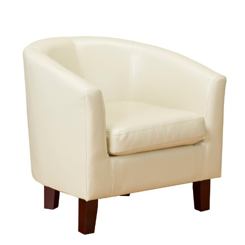 1home Bonded Leather Tub Chair Armchair for Dining Living Room Office Reception (Ivory)