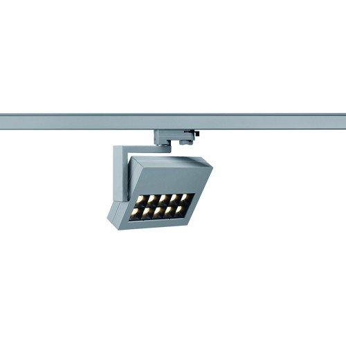 SLV LED 3-Phasen Strahler Profuno, 18W, 3000 K, 30 Grad, inklusiv Adapter, silbergrau 152544