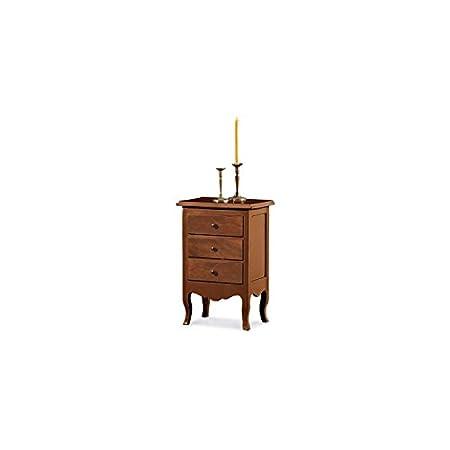 Mesita de noche, estilo clásico, madera maciza y MDF -43X32X64H 100% made in italy