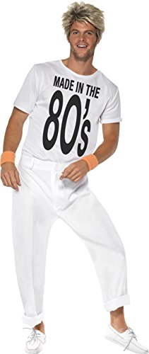 Smiffy's Men's Made In 80's Costume with Top and Trousers, white - three sizes.