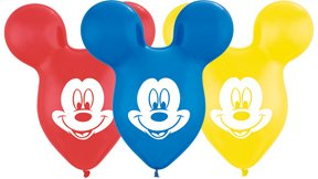 "25 MICKEY MOUSE EARS 15"" Disney Party Latex Balloons"