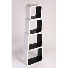 Estanterias Flotantes Diseño Moderno Cubos Para Pared con Forma de Cubo CD Retro Librero Blanco y Negro LO02BJ