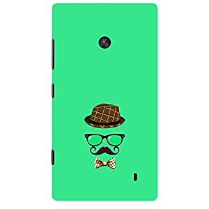 Skin4gadgets Hipster Pattern- Hat, Glasses, Mustache with a Bow Tie, Color - Medium Spring Green Phone Skin for LUMIA 520