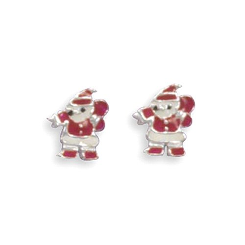 Sterling Silver Red and White Epoxy Santa Post Earrings