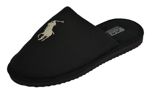 Cheap Polo Ralph Lauren Men's Big Pony Slippers-Black (B005XDFV3K)