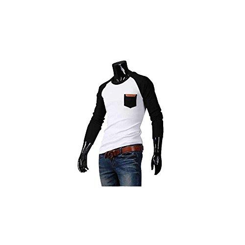 Herren Round Neck Langarm Shirt T-Shirt Hemd Hemden Pulli Schwarz-Weiß DE M