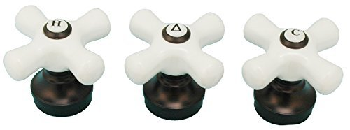 Porcelain Handle (3 Pieces) Fits Price Pfister Shower Faucet, Oil Rubbed Bronze Finish - By Plumb USA 32336bobx3 (Three Piece Shower compare prices)